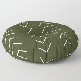 Mudcloth II (Olive Green) Floor Pillow