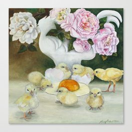 Pink Rose Yellow Chicks Canvas Print