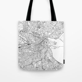 Dublin White Map Tote Bag