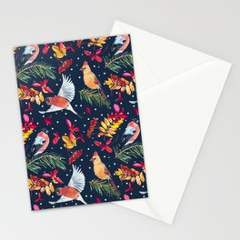 Bullfinch and Cardinal birds  illustration watercolor pattern Stationery Cards