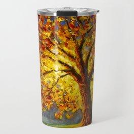 Bright autumn tree in sun rays Travel Mug
