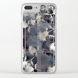 Thistle Flower Felted Plaid Pattern Clear iPhone Case