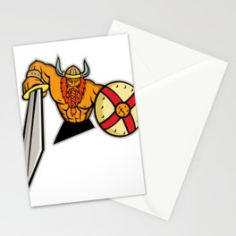 Viking Warrior Sword and Shield Mascot Stationery Cards