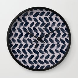 Lake Davinde -  Dark Blue Brush Strokes on lilac Wall Clock