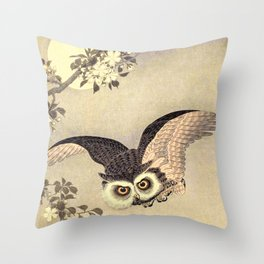 Koson Ohara - Scops Owl in Flight, Cherry Blossoms and Full Moon - Japanese Vintage Woodblock Throw Pillow