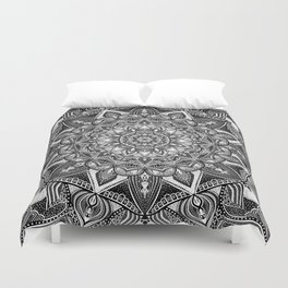 Black and white mandala Duvet Cover