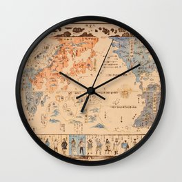 19th Century Japanese Map of the World Wall Clock