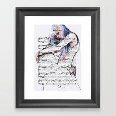 Waiting Place on sheet music Framed Art Print