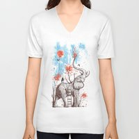 girl V-neck T-shirts featuring A Happy Place by Norman Duenas