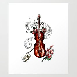 Brown Violin with Notes Art Print