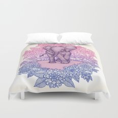 Cute Baby Elephant in pink, purple & blue Duvet Cover