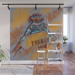 Frog offers free hugs. Drawing by pastels. Wall Mural