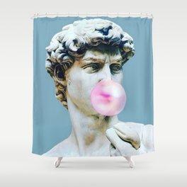 The Statue of David (Michelangelo) with Bubblegum Shower Curtain