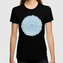 Pale Blue Pencil Pattern - hand drawn lace mandala T-shirt