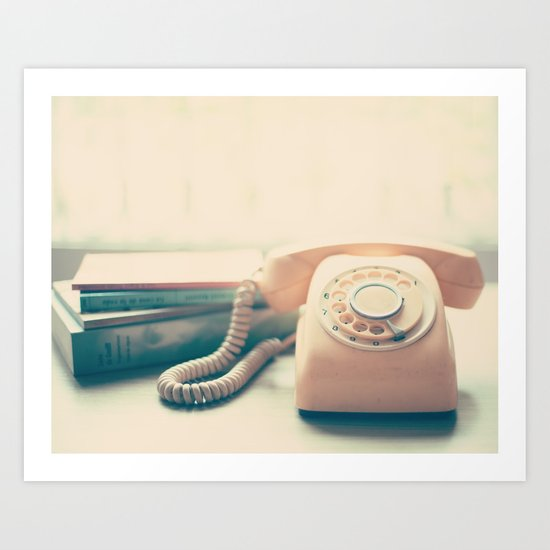 Pink Retro Telephone and Books, still life vintage  Art Print