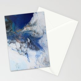 Abstract blue marble Stationery Cards
