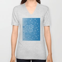 Abstract blue flowers with background Unisex V-Neck