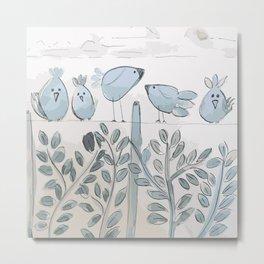 Little Birds Watercolor Metal Print