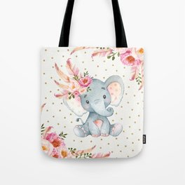 Boho Floral Elephant - Pink & Faux Gold Tote Bag