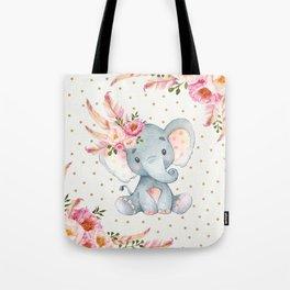 Boho Floral Elephant - Pink & Faux Gold Tote Bag