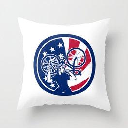 American Bike Mechanic USA Flag Mascot Throw Pillow