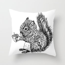 Squirrel in black & white Throw Pillow