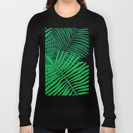 Modern Tropical Palm Leaves Painting black background Long Sleeve T-shirt