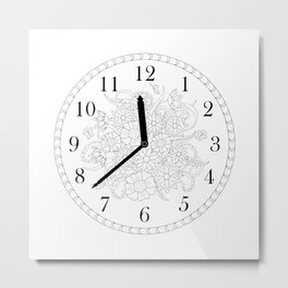floral clock in black&white Metal Print