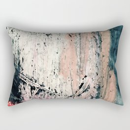 Kelly: a bold, textured, abstract mixed media piece in bright pinks, blues, and white Rectangular Pillow