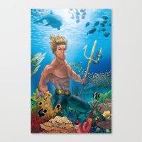 aquaman Canvas Prints featuring Aquaman Black Lagoon (Sun Kissed Water Version) by Brian Hollins art