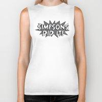 simpsons Biker Tanks featuring Simpsons Did It! by HuckBlade
