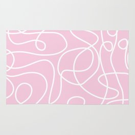 Doodle Line Art   White Lines on Baby Pink Rug