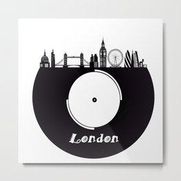 London Skyline on Vinyl Record - Black and White Metal Print
