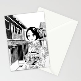Kimono girl (manga style drawing) Stationery Cards