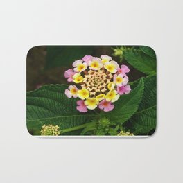 Fresh Lantana Flower Against Leaf Background Bath Mat