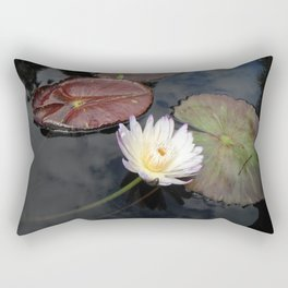 White Lily in Pond Rectangular Pillow