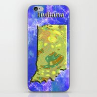indiana iPhone & iPod Skins featuring Indiana Map by Roger Wedegis