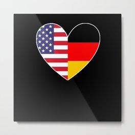 USA Germany Two Hearts Metal Print