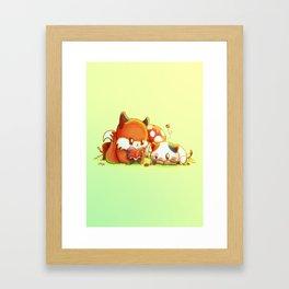 Bookish Fox and Cat Friends Framed Art Print