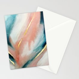 Celestial [3]: a minimal abstract mixed-media piece in Pink, Blue, and gold by Alyssa Hamilton Art Stationery Cards