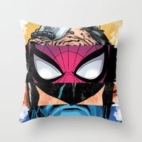comic book Throw Pillows featuring Comic by Molnár Roland