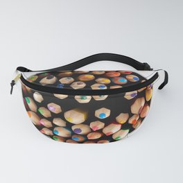 Large set of colored pencils pointing up - top view Fanny Pack