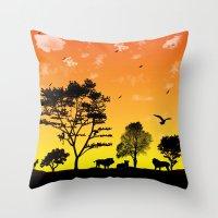 safari Throw Pillows featuring Safari by Kaitlynn Marie