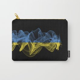 Ukraine Smoke Flag on Black Background, Ukraine flag Carry-All Pouch