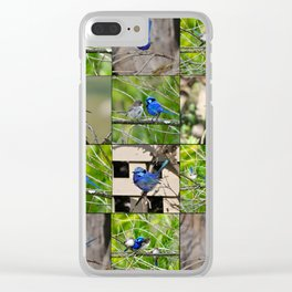 Blue Wren collage Clear iPhone Case