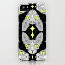 Sphynx Cat Black Pattern iPhone Case