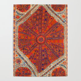 Orange Wildflower Sunshine II // 18th Century Colorful Rusty Red Bright Blue Metallic Happy Pattern Poster
