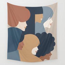 Girl Power portrait - we persist - Earthy #girlpower Wall Tapestry