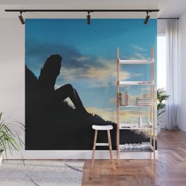 Evening Sunset Landscape - Mountain Girl Wall Mural