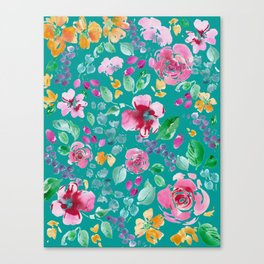 Summer Blooms on Teal Canvas Print